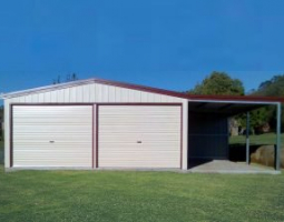 2 bay red & white shed with awning