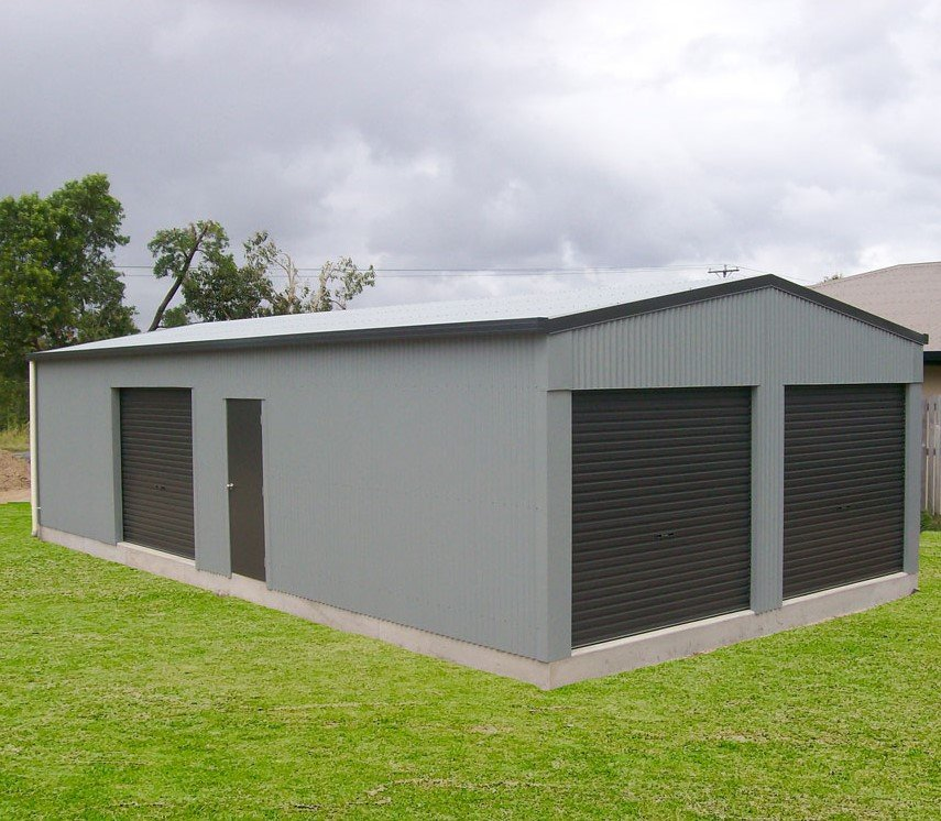 Domestic shed with roller doors and PA doors