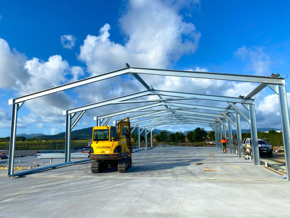 Commercial shed with portal frames erected