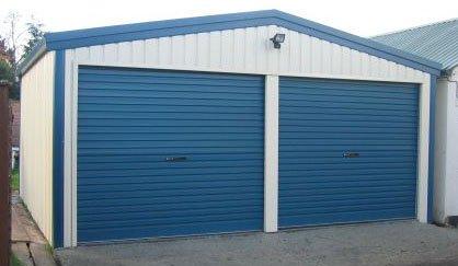 2 Bay Garage - Cream & Blue