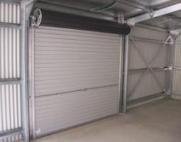 Roller door from inside of shed